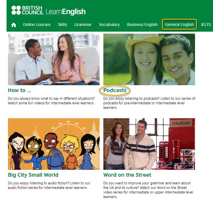 visuale della sezione podcast general english del sito british council