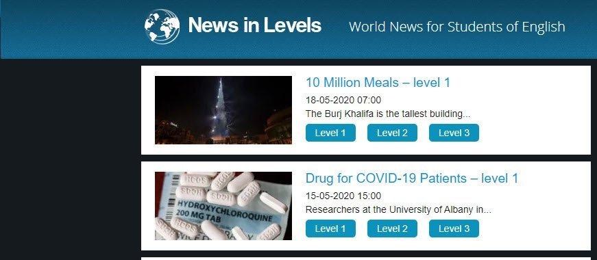 visuale del sito newsinlevel con due notizie in primo piano