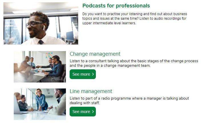 vista del sito del british council nella sezione podcast per business english