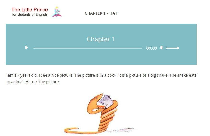 vista del primo capitolo del libro Il piccolo principe in inglese
