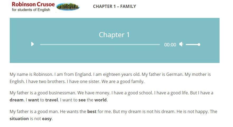 vista del primo capitolo del libro robinson crusoe in inglese