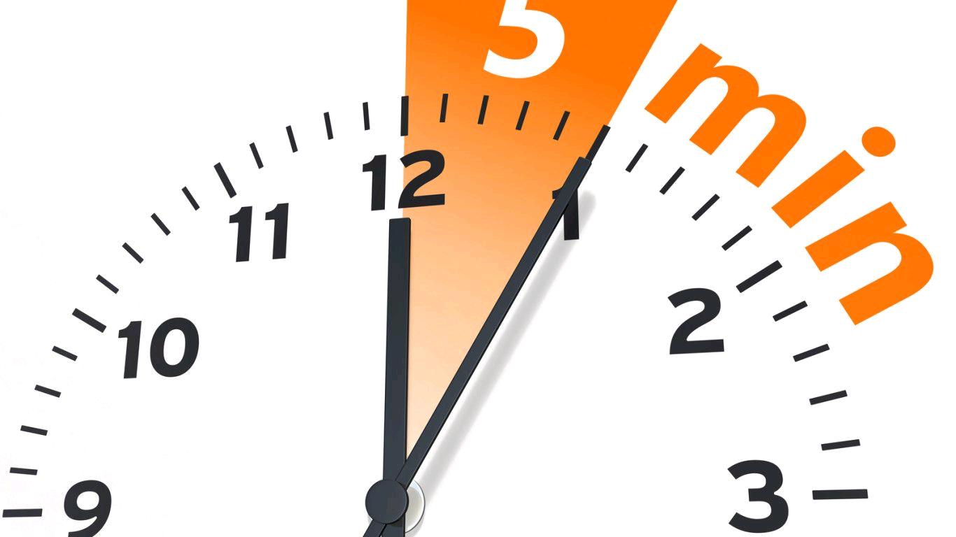 orologio che segna 5 minuti
